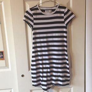 White and Black Striped Abercrombie Kids Dress